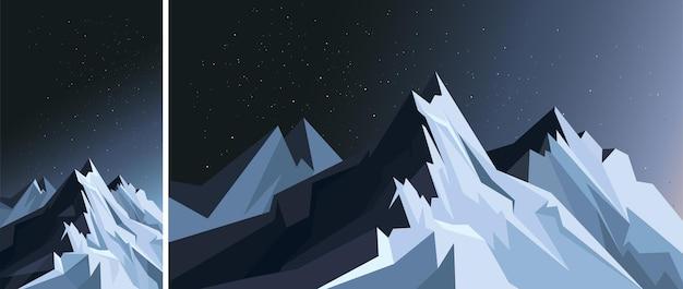 月明かりの下で垂直方向と水平方向の山