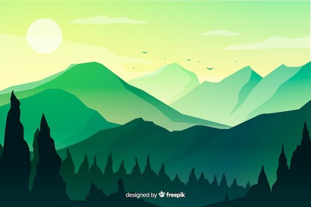 日没で山の風景