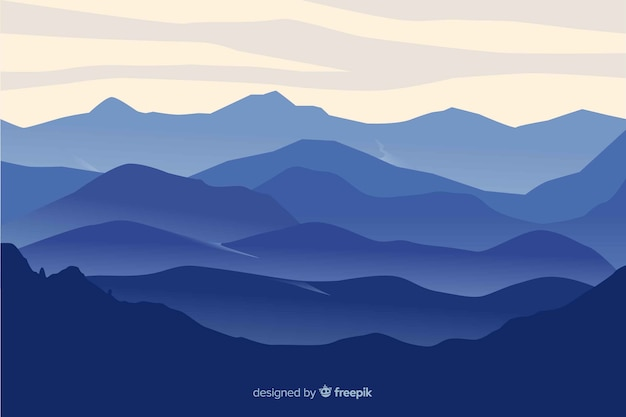 Mountains landscape blue gradient