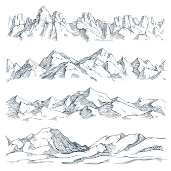 Mountains landscape engraving. vintage hand drawn sketch of hiking or climbing on mountain. nature highlands illustration