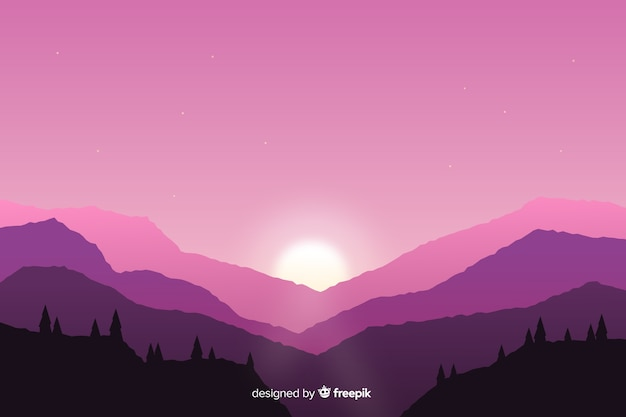 Mountains landscape pink background