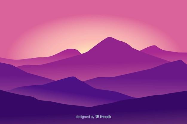 Mountains landscape violet gradient