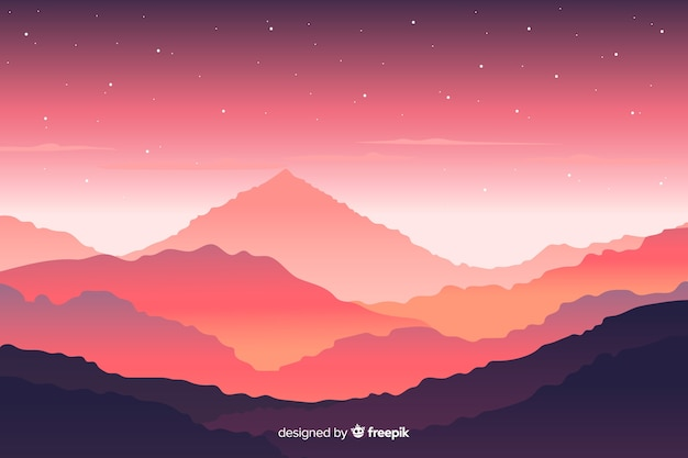 Mountains landscape with pink view