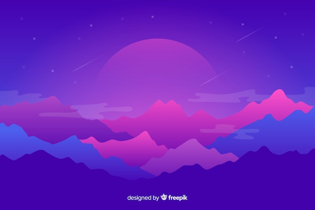 Mountains landscape with purple background