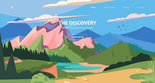 Горы пейзажбаннер векторные иллюстрации национальный парк фон приключенческое путешествие