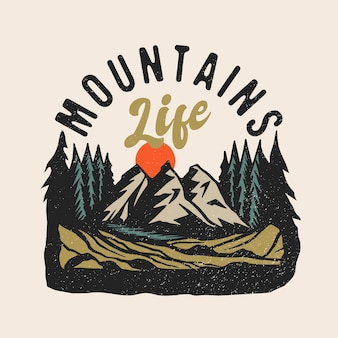 Mountains life adventure patch logo