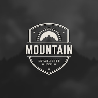Mountains logo emblem,  outdoor adventure expedition, mountain silhouette