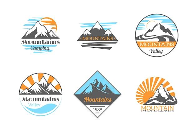 山のロゴセット。マウンテンロック野外キャンプ。登山、ハイキング、旅行、アドベンチャーバッジ