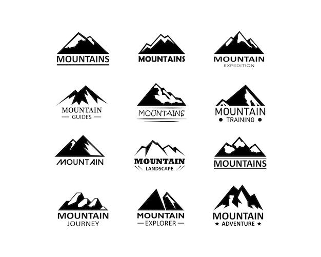 山のロゴのアイコン。山の観光と山での冒険。 eps10