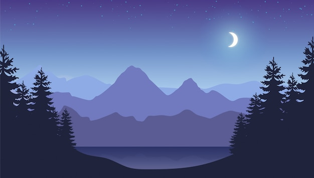 Mountains night background. smokey rocky panorama with mountains and pine tree forest silhouettes.