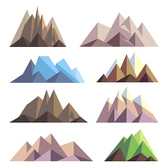 Mountains in polygon origami style elements for landscape. set of mountain peak, illustration