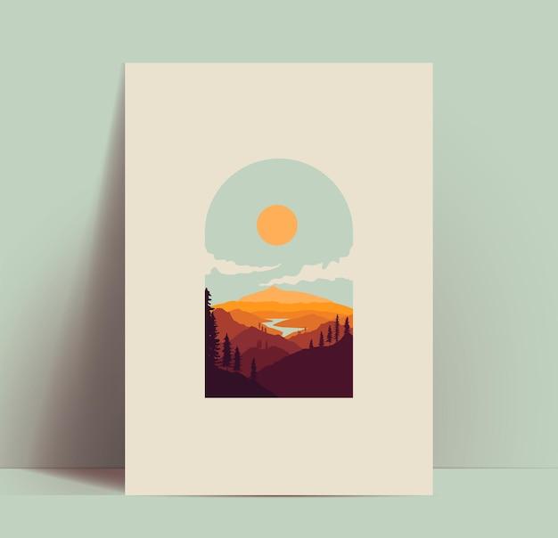 Горы плакат или карта или шаблон дизайна баннера с красивым горным пейзажем