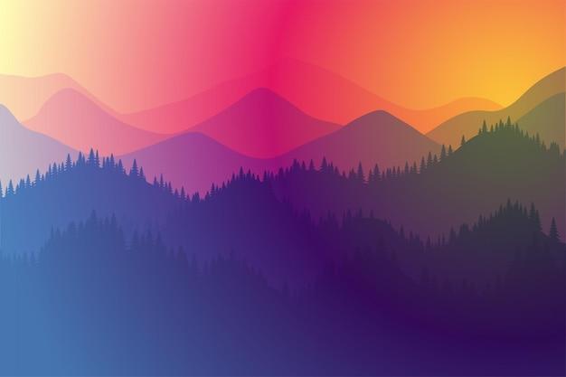 山々は、霧と森の日の出と色の日没の遊びで朝または夕方の風景に広がります