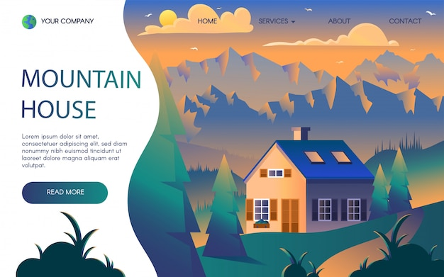 Mountains resort flat landing page template
