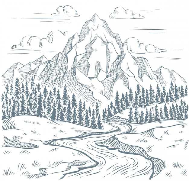 Mountains river engraving. outdoors travel, mountain adventures and snake rivers vintage hand drawn landscape illustration