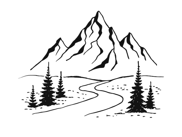 山道。白地に黒の風景。スケッチスタイルで手描きの岩の峰。ベクトルイラスト。