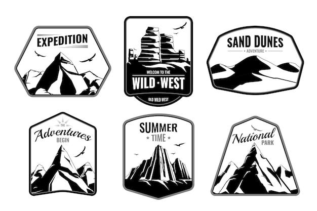 Montagne rocce emblemi collezione piatta monocromatica con cornice isolata forme testo modificabile e immagini silhouette scure