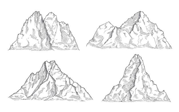 산 스케치. 아트 드로잉 산, 새겨진 파노라마 실루엣. 빈티지 야생 동물 풍경, 바위 봉우리 요소. 자연 벡터 집합입니다. 그림 바위 피크, 산 실루엣 바위 스케치