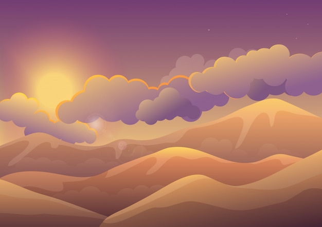 Mountains at sunset with color clouds