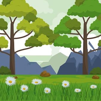 산 나무와 데이지 꽃과 필드