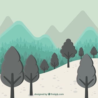 Mountains and trees background