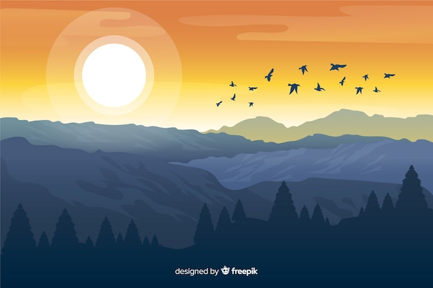 Mountains with bright sun and flying birds