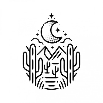 Mountains with cactus and moon sticker