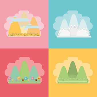 Mountains with the effects of the seasonal weathers