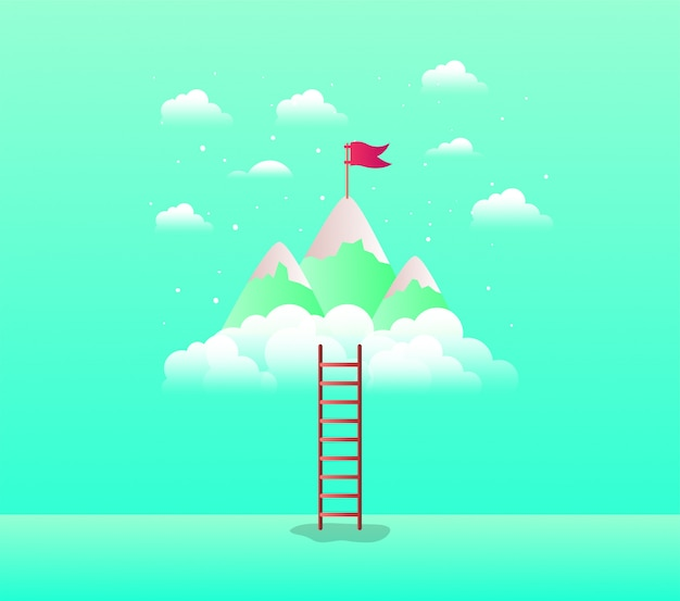 Mountains with flag with stair