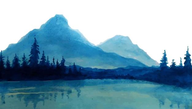 森の木々と湖のある山々