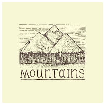 Mountains with house and forest engraved, hand drawn  illustration in woodcut scratchboard style, vintage drawing