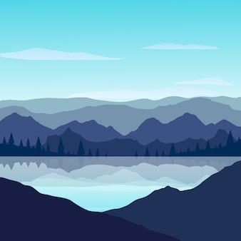 화창한 날에는 호수에 반사 된 산