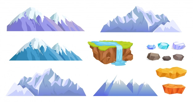 Mountains with snow tops, cliff stones, waterfall