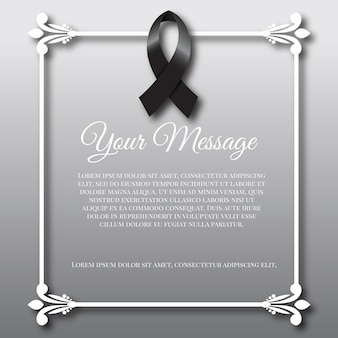 Mourning black ribbon and frame