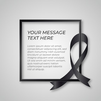 Mourning black ribbon grief concept