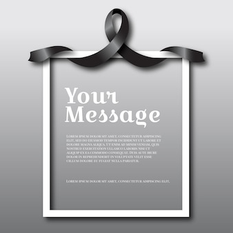 Mourning black ribbon with text space