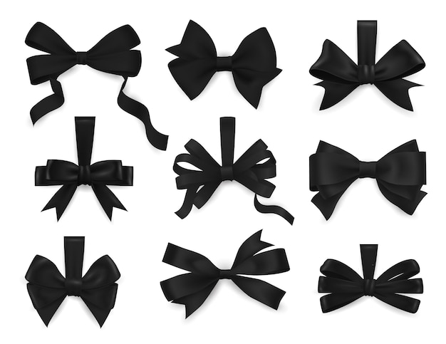 Mourning bows and funeral black ribbons 3d realistic set