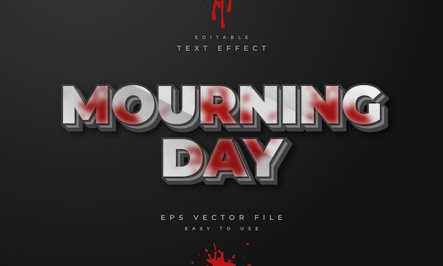 Mourning day editable 3d text effect with blood splash