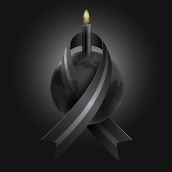 Mourning for the loss of many people from epidemics, wars, natural disasters using black ribbons wrapped around the world and black candles as a symbol of sadness and death.