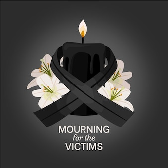 Mourning ribbon and lighten candle