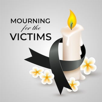 Mourning ribbon with candle