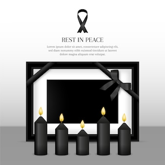 Mourning ribbon with frame design