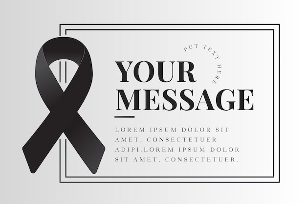 Mourning ribbon with frame funeral concept