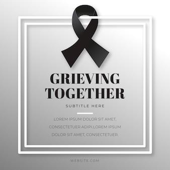 Mourning ribbon with frame illustration