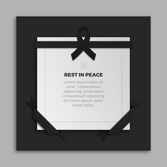 Mourning ribbon with frame and message