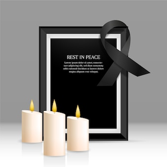 Mourning ribbon with frame theme