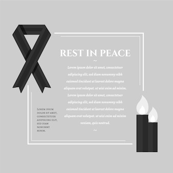 Mourning ribbon with frame