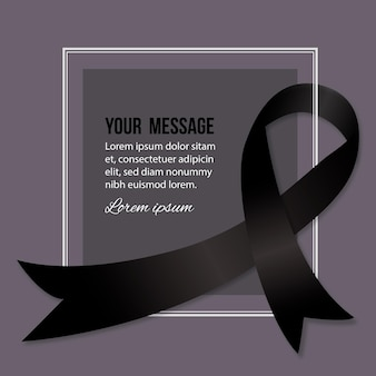 Mourning symbol black ribbon and frame