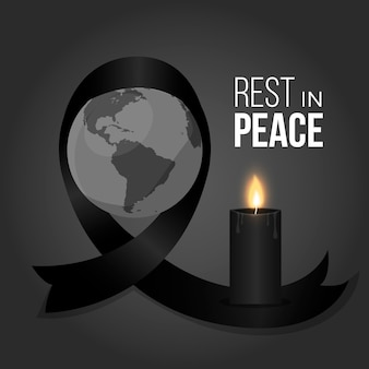 Mourning symbol black ribbon for the victims