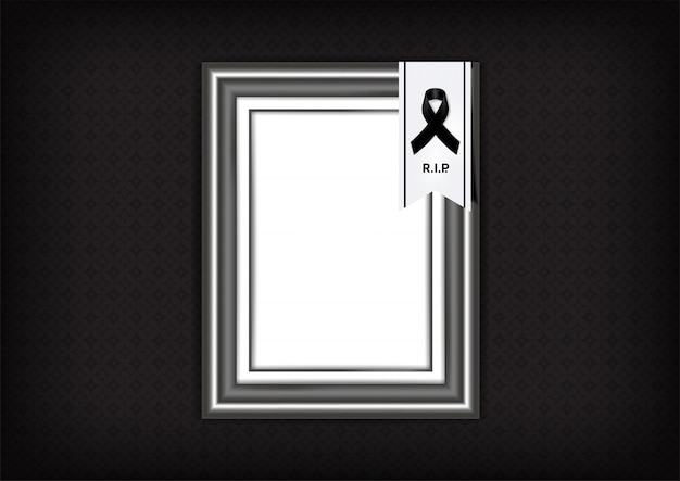 Mourning symbol with black respect ribbon and frame on texture background banner. rest in peace funeral card   illustration.